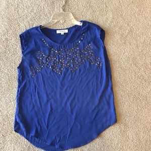 Umgee Blue Sleeveless Top with Beading